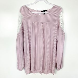 Lane Bryant Pink Striped Lace Cold Shoulder Top